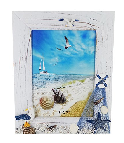 """Gorse 5\"""" X 7\"""" Beach Style Wooden Photo Frame Sea Gull Decorative Picture Frame Study Children Room"""