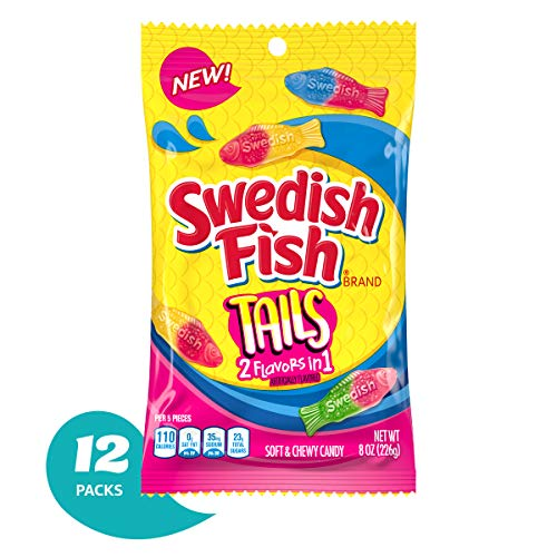 Swedish Fish Tails, 2 Flavors in One, Twelve 8 Oz. Bags (Pack of 12)