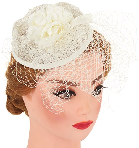 [Pearl with Lace Flower Fascinator Wedding Headband Cocktail Party Headwear (Ivory)] (All That Jazz Pearl Earrings)