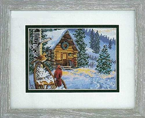 (Zamtac Top Quality Popular Counted Cross Stitch Kit Winter Hideaway Two Birds and House Home Snow dim 08745 - (Cross Stitch Fabric CT Number: 16CT unprint Canvas))