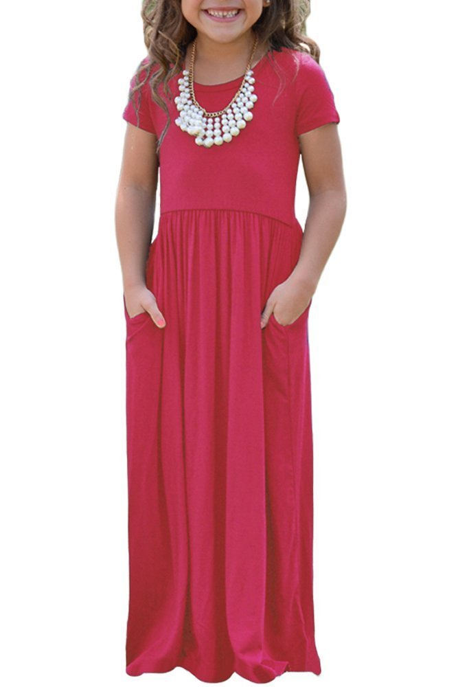 KIDVOVOU Girls Short Sleeve Round Neck Casual Long Maxi Dress,Rosy,4-5years