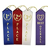 Classic Award Ribbons – 15 Each 1st - 2nd - 3rd Place Ribbons + 1 Bonus Best Overall (46 Count Total)