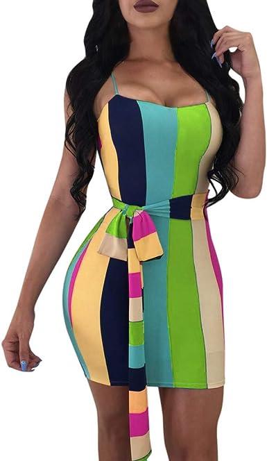 Amazon.com: WomenS Color Striped Sling Mini Skirt Tight ...