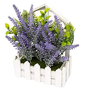 U'Artlines Artificial Plastic Mini Plants Topiary Shrubs Fake Plants with Gray Pot for Bathroom,House Decorations 5