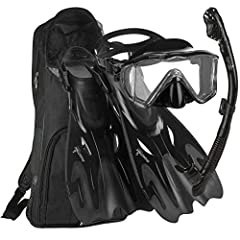 Explore the water with the Phantom Aquatics panoramic LX snorkel set! This set includes the panoramic mask, with patented panoramic bonded lens technology for an amazing field of vision. The adjustable open HEEL fins help to conserve energy a...