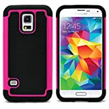 Galaxy S5 Mini Case, MagicMobile [Dual Armor Series] Hybrid Impact Resistant S5 Mini Shockproof Tough Case (Hard Plastic) + (Rubber Silicone) Protective Case for Samsung Galaxy S5 Mini - Black / Pink