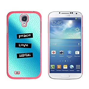 Peace Love Basketball Snap-On Hard Protective Case for Samsung Galaxy S4 - Non-Retail Packaging - Pink