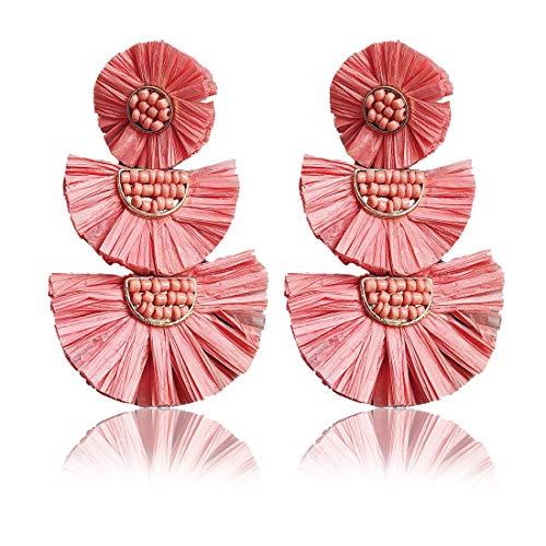 - Statement Earrings Beaded Raffia Palm Bohemian Drop Dangle Earrings for women