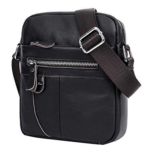 Leathario bolso bolsa bandolera de cuero piel para hombres de estilo retro para diario y trabajo Negro2