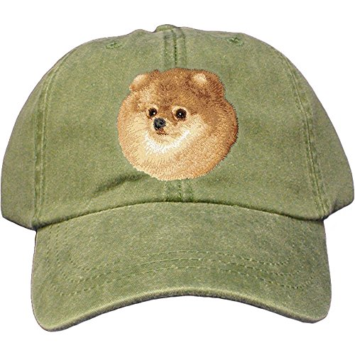 Cherrybrook Dog Breed Embroidered Adams Cotton Twill Caps - Spruce - Pomeranian