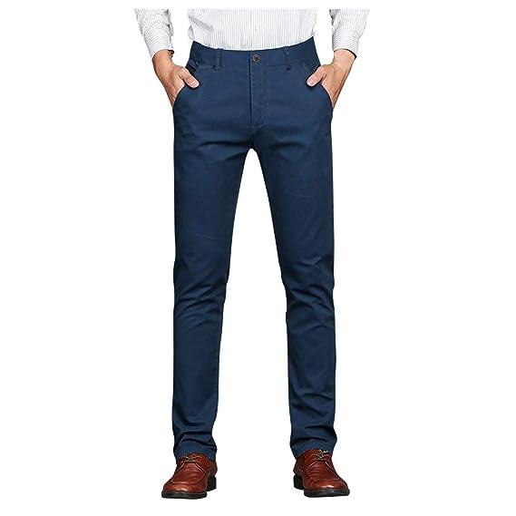 beautyjourney Pantalones de Negocios Formales para Hombres ...