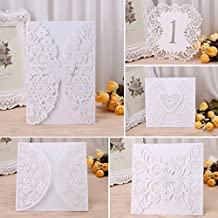 Linlin 10Pieces Wedding Invitation Cards Kit with Envelopes Seals Personalized Printing