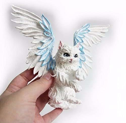 Amazon.com: Winter cat Figurine Sculpture Fantasy cat