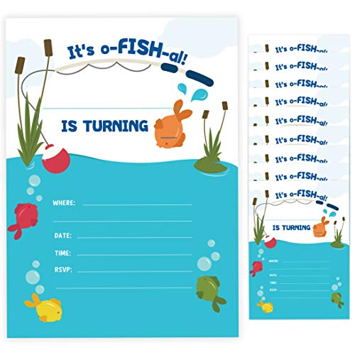 Fishing Baby Shower Invitations (Fishing 2 Happy Birthday Invitations Invite Cards (10 Count) With Envelopes Boys Girls Kids Party)