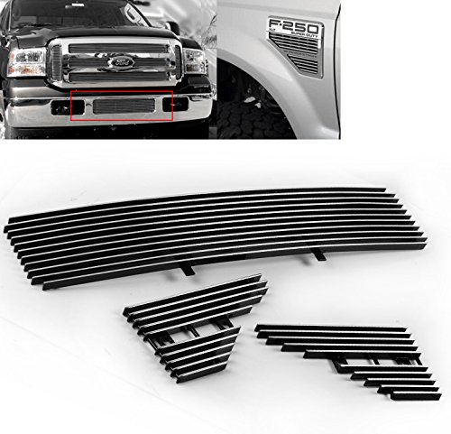 (ZMAUTOPARTS Bumper + Fender Vent Billet Grille Grill Insert Combo For 2008-2010 Ford F-250 F-350 F-450 F-550 Super Duty)