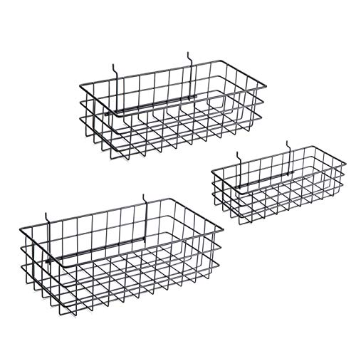 Pegboard Baskets, Set of 3 Black - Hooks to Any Peg Board - Square Style Baskets Hold More - Organize Tools, Workbench, Accessories, Garage Storage - Wall Organizer Attachments