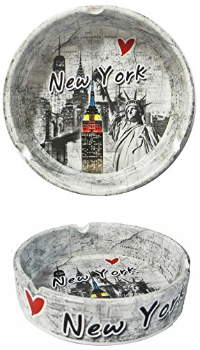 New York Souvenir Ashtray with Statue of Liberty Empire State Building and New York - Center New York Queens