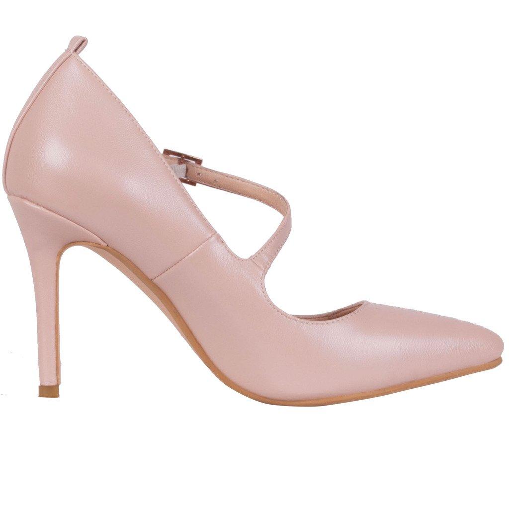 Calaier Damen Caalso Damen Mädchen Stilettos Slip Sexy on Klassische Sexy Slip Tägliche High Heels Große Größe Schuhe 8.5CM Stiletto Schnalle Pumps Pink 636ba9