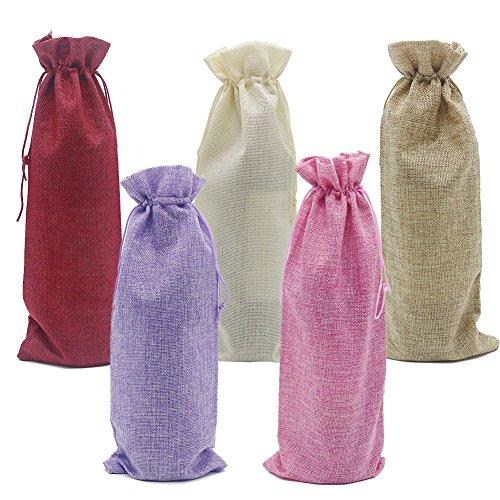 HRX Package Burlap Wine Bottle Bags with Drawstring, 10 PCS 5 Colors Reusable Linen Jute Gift Wine Totes Bottle Wrap Hessian Pouches (14.4