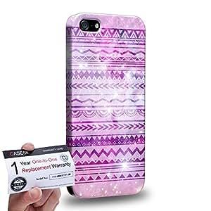 Case88 [Apple iPhone SE] 3D impresa Carcasa/Funda dura para & Tarjeta de garantía - Art Aztec Design Galaxy Overlay Purple Mix