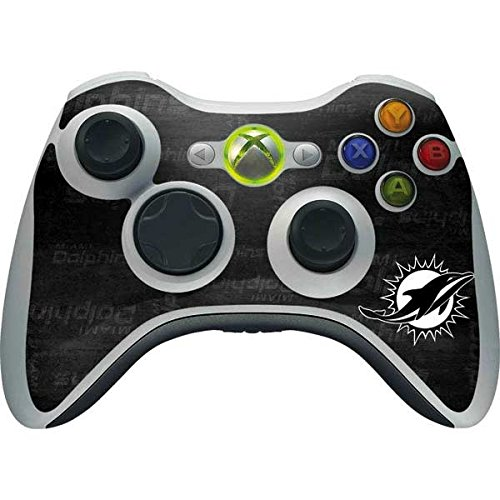 (Skinit NFL Miami Dolphins Xbox 360 Wireless Controller Skin - Miami Dolphins Black & White Design - Ultra Thin, Lightweight Vinyl Decal Protection)