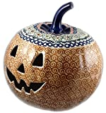 "9"" Polish Pottery Stoneware Pumpkin Halloween Jack-o'-lantern EOS Early October"
