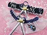 Customizable - Tennessee Titans fabric handmade into bridal prom organza wedding garter set with football charm