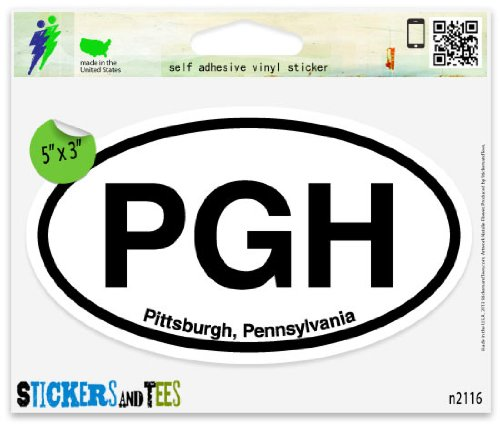 Amazon com pgh pittsburgh pa pennsylvania oval car sticker indoor outdoor 5 x 3 automotive
