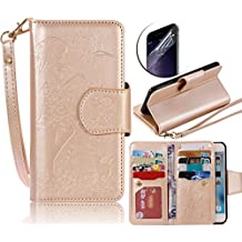 iPhone 5s Case Cover,Sunroyal Gold 9 Card Slots Ultra-thin PU Leather Wallet Magnetic Soft Silicone Back Flip Stand Case with Wrist Strap [Cosmetic Mirror] for Apple iPhone 5 5se 5S + Screen Protector
