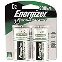 """Energizer NH50BP-2 Rechargeable D Cell Batteries, NIMH D Battery (2 Count) NH95BP-2, 0.75"""" Height, 3.25"""" width"""