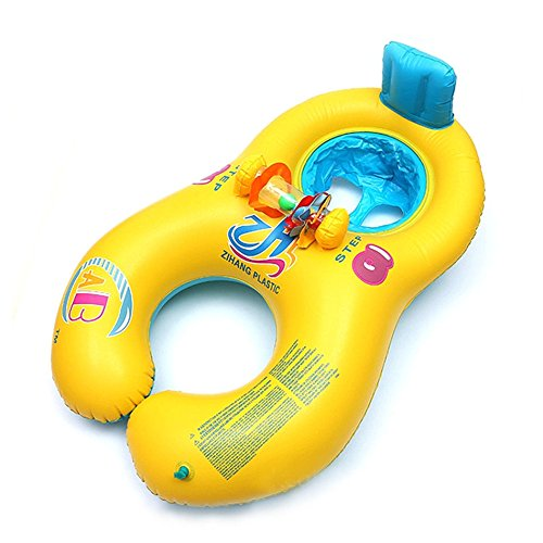 Float Tintinnabulation - Parent Child Inflatable Swimming Ring Double Kid Float Pool Toy - Closed Master Phone Overcome Halo Anchor Call Peal Anulu Doughnut Surmount Circle - 1PCs
