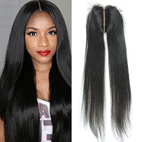 SHANELL Hair Silk Base Top Closure Straight Bleached Hidden Knots Middle Part 4x4