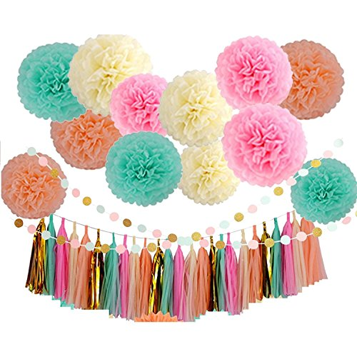 Elehere Party Decorations Pack - 12 Party Paper Pom Poms - 20 Tassels - 2 Strings Dot Paper Garland Perfect For Birthday Baby Wedding Bridal Shower (Rianbow)