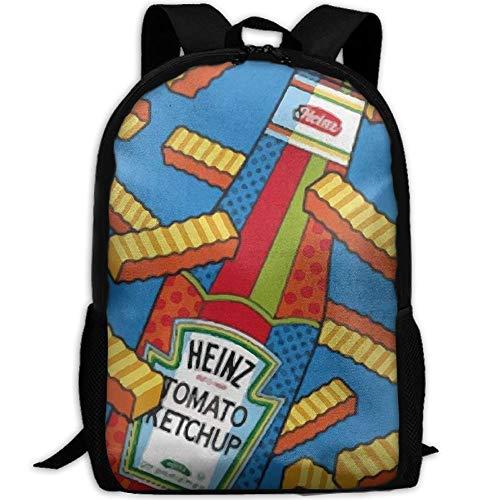 CRSJBB219 Casual French Fries Ketchup Laptop Backpack School Bag Shoulder Bag Travel Daypack Handbag