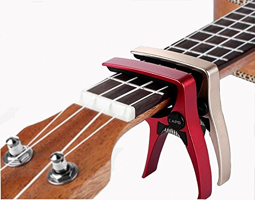 UKULELE CAPO, 2 Pack Quick Change 4 String for Soprano, Concert, Tenor - Ukulele Professional Capo Made of High-grade Lightweight Zinc Alloy(gold&red)