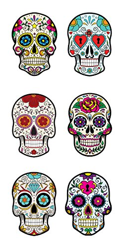 Paper House Productions ST-2284E Photo Real Sticky Pix Stickers, Sugar Skulls (6-Pack)