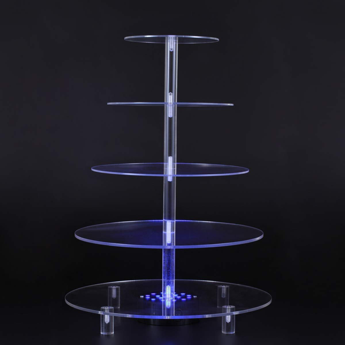 BonNoces 5 Tiers Round Cupcake Stand with LED Light - Clear Acrylic Cake Dessert Stand - Tiered Pastry Tree Tower with Base for Wedding, Birthday Party
