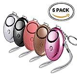 XFHLL Safesound Personal Alarm Keychain, 140 DB Emergency Security Siren Self Defense Key Chain LED Light Women, Kids, Girls, Elderly - 5 Pack