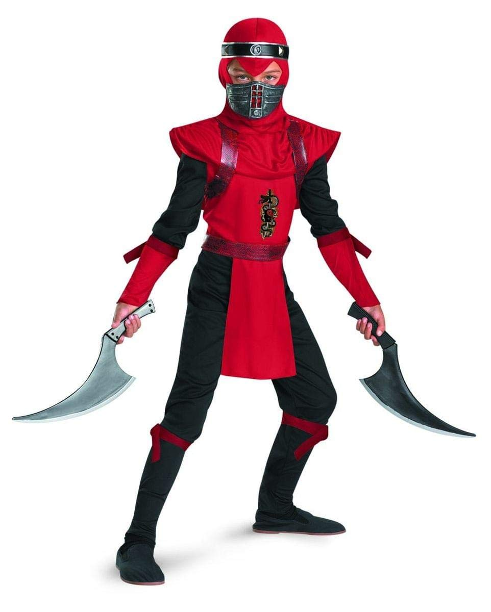 Shadow Ninjas Night Fury Red Viper Ninja Deluxe Boys Costume, 10-12