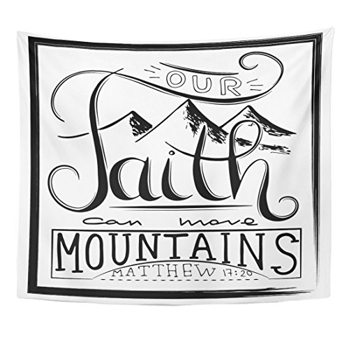 Breezat Tapestry Our Faith Can Move Mountains Inspirational and Motivational Quote in Christian Religion Words About God Home Decor Wall Hanging for Living Room Bedroom Dorm 50x60 Inches by Breezat