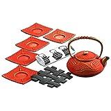 Japanese Nambu Ironware Tea Pot and Saucers Set for Tea Party 16.9 oz - Red Gold , Pattern / Dragon Flies