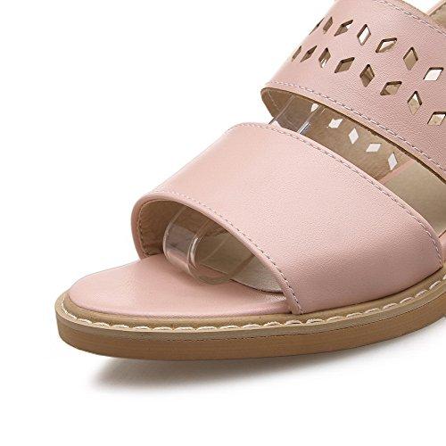 AgooLar Mujeres Puntera Abierta Mini Tacón Hebilla Sólido Sandalia Rosa