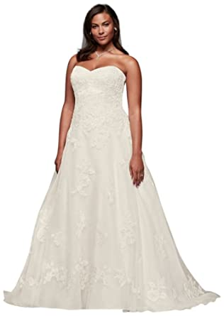 Davids Bridal Beaded Organza A Line Plus Size Wedding Dress Style