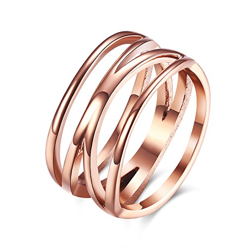 Ring Rose Stainless Steel (LZD 18K Rose Gold Stainless Steel Fashion Ring Women B461 (7))