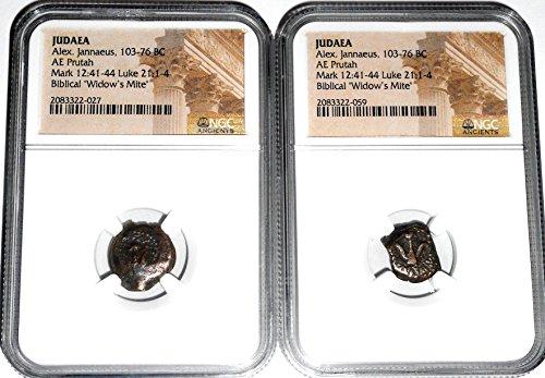 Widows Mite Bronze Coin - IT 2000 (2) Ancient Widows Mite Coins, NGC Certified 2083322027,2083322059 Judaea Prutah cir 100 BC Genuine
