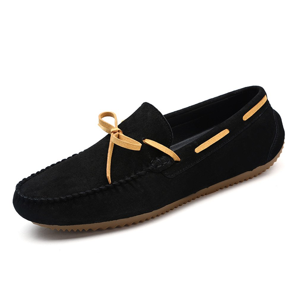 Black JIALUN-shoes Men's Comfortable Drive Loafers for Casual Leather Frosted with Breathable Flat Soles Boat Moccasins