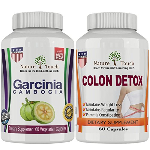 Nature Touch Colon Clean Ease Body Detox Plus Pure Garcinia Cambogia Cleanse Appetite Suppressant and Weight Loss Supplements.Pack of 2.Combo Pack.1600 Mg, 60 (2 Combo Fat Pack)