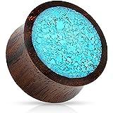 Dynamique Crushed Turquoise Organic Wood Saddle Plugs (2g(6mm))