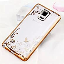 Galaxy Note 5 Case,Secret Garden Butterfly Floral Flower Bling Swarovski Rhinestone Diamond Clear Back Rubber Golden Plating Frame Soft TPU Silicone Gel Bumper Case for Samsung Galaxy Note 5(Gold-White Flower)
