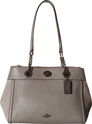 COACH Women's Turnlock Edie Carryall in Mixed Leather Dk/Heather Grey One Size